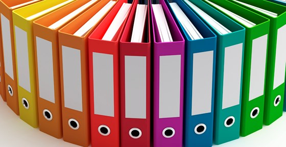 Colourful folders in a row