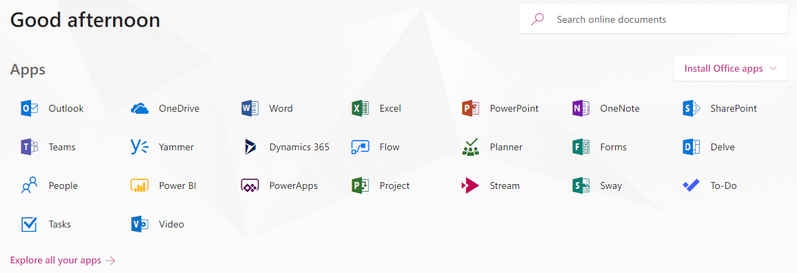 Office 365 Apps Homepage