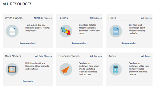 Oracle Marketing Cloud Resources Screenshot