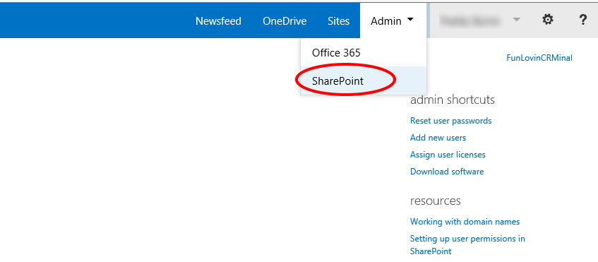 Sharepoint option under admin