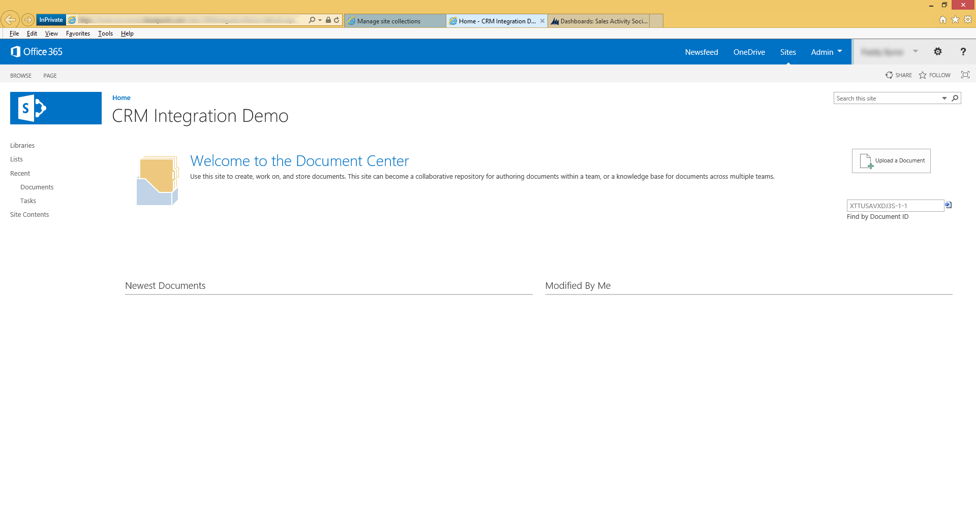 CRM intergration demo welcome to the document center