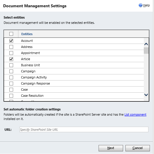 Selecting entities under document management settings