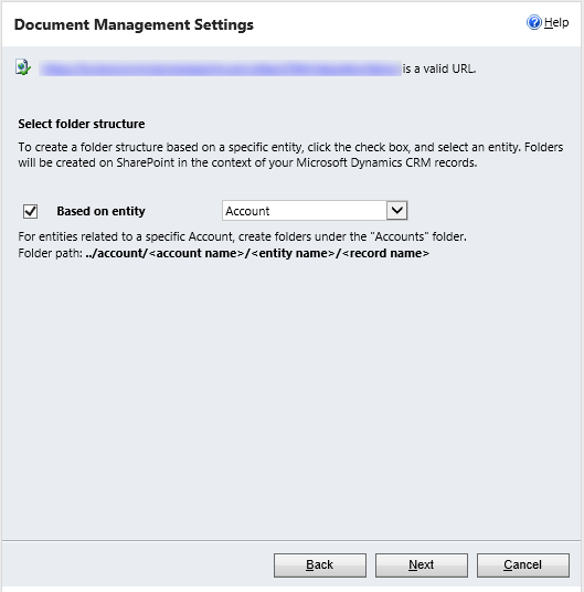 Screenshot document management settings based on entity