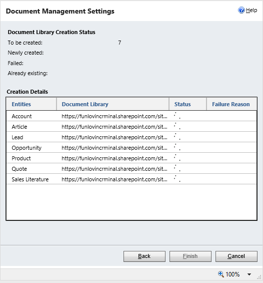 screenshot of document library creation status