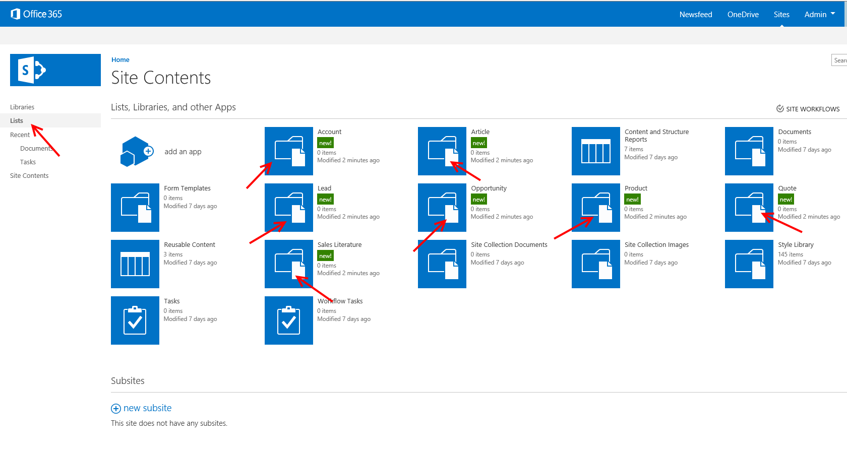 Office 365 Site Contents