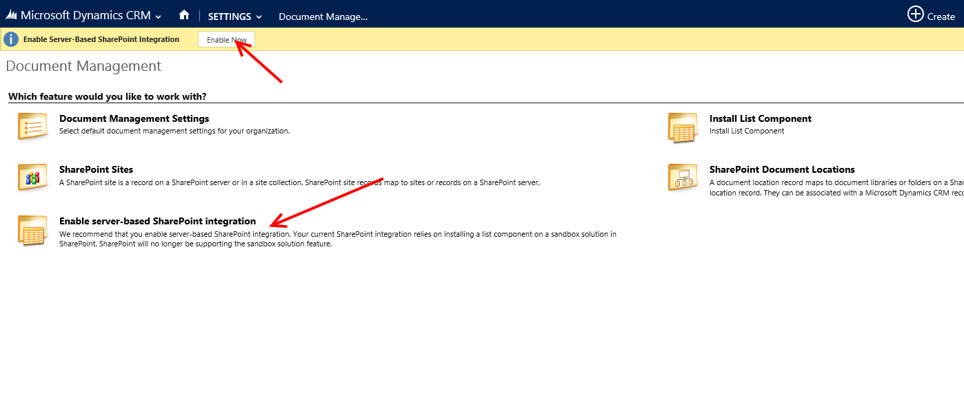 Enable server-based sharepoint integration