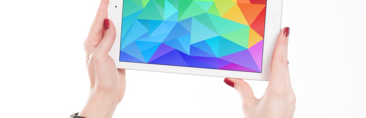 iPad with colourful pattern on it