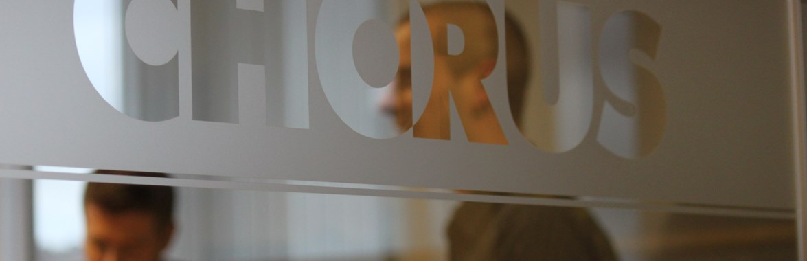 Chorus logo on glass wall