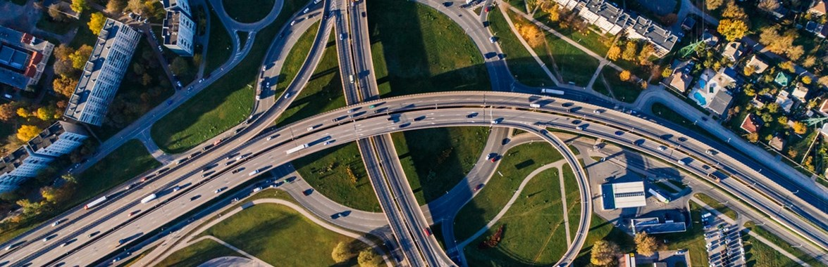 Aerial view of busy roads