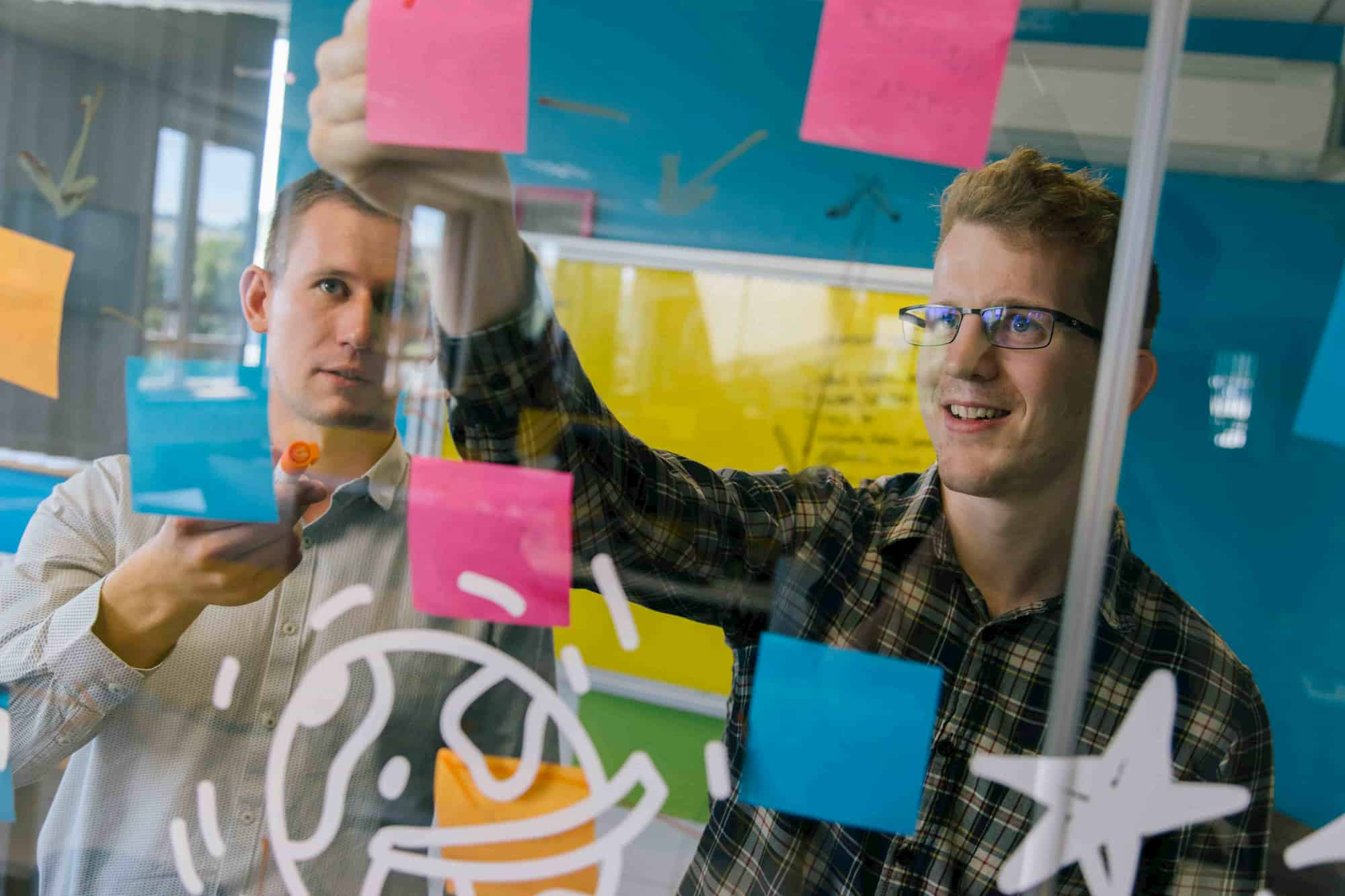 Post it note discovery on a glass wall