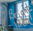 Bright idea written on glass
