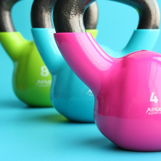 Kettlebells on a floor