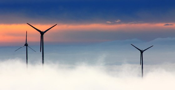 Offshore wind farm in clouds