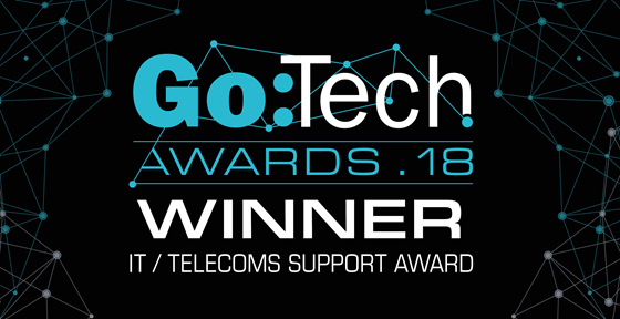 Chorus winning IT Support Award at Go:Tech Awards 2018