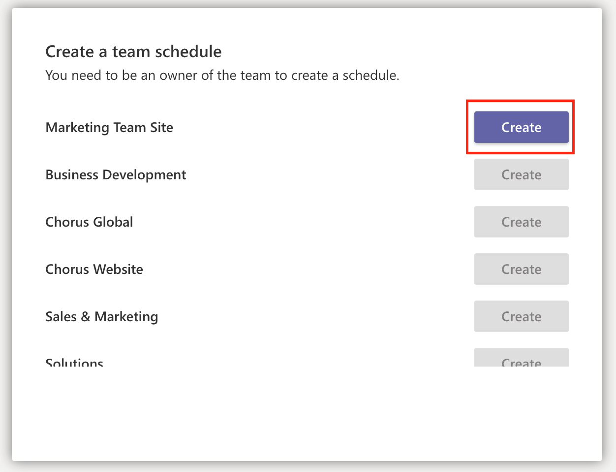 The 'create a team schedule' window in Shifts in Microsoft Teams