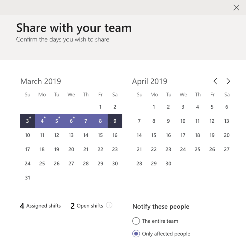 Sharing a shift calendar in Teams