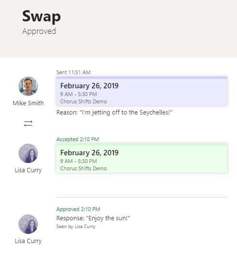 Swapping shifts in Microsoft Teams