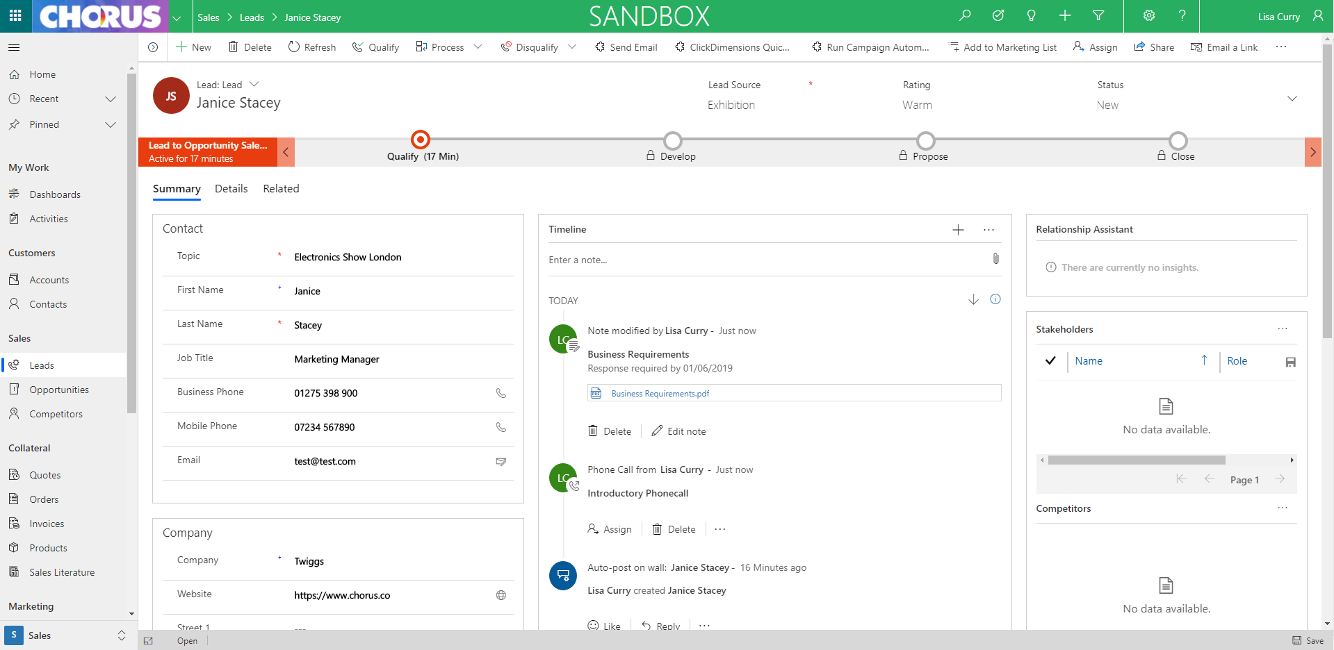 Dynamics 365 Unified Interface Lead Form