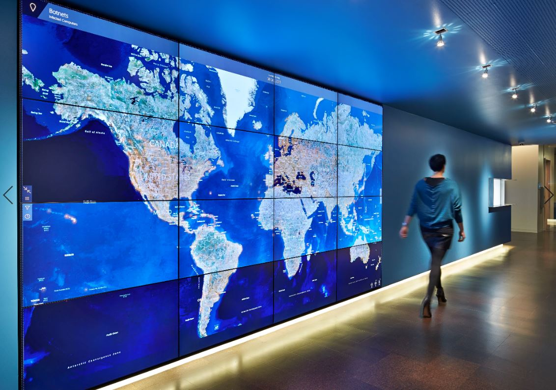Blue world map on a screen