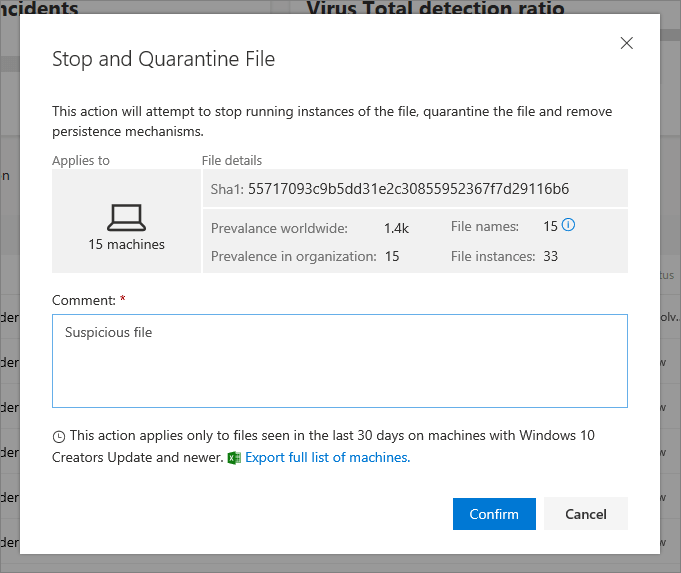 screenshot of stopping and quarantining a file