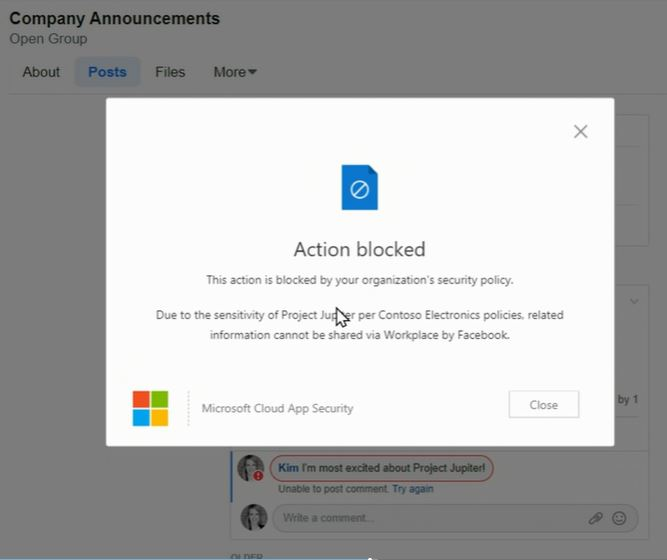 Block message in Microsoft Cloud App Security