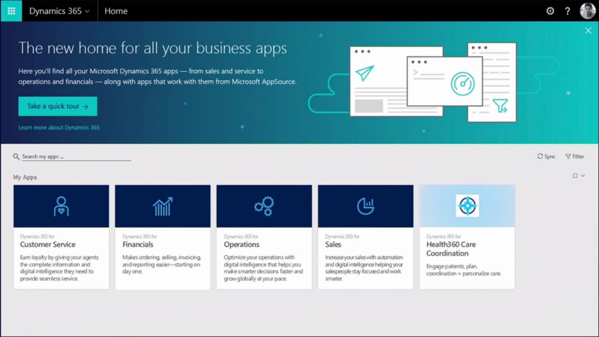 Dynamics 365 home screen