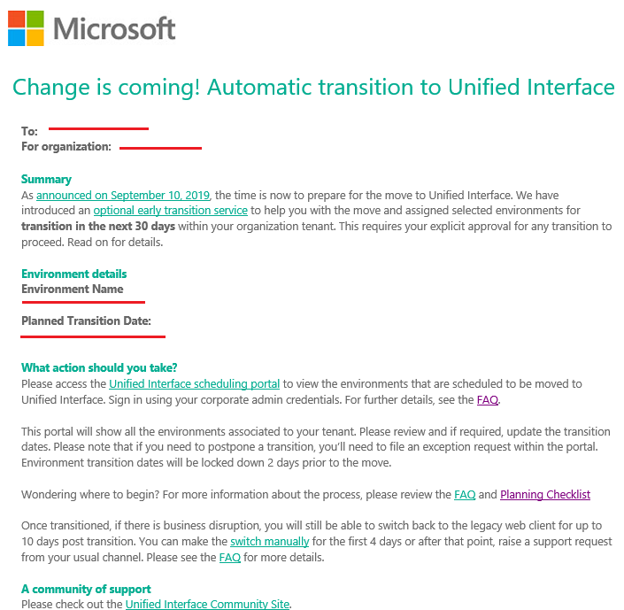 Change is coming! Automatic transition to Unified Interface